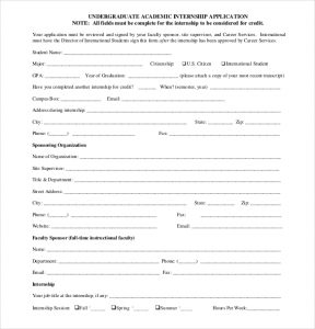 internship application template under graduate internship application form pdf free download