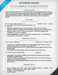 internship resume template internship resume sample