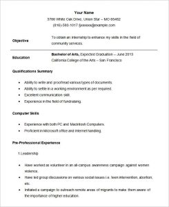 Internship Resume Template Sample Student Internship Resume