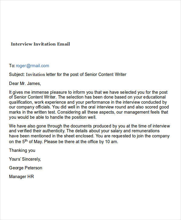Interview Request Email | Template Business