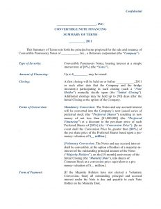 investment agreement template convertible note financing term sheet