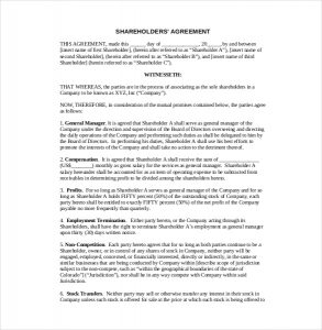 investment agreement template example shareholder agreement template