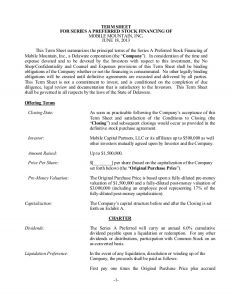 investment agreement template sample term sheet