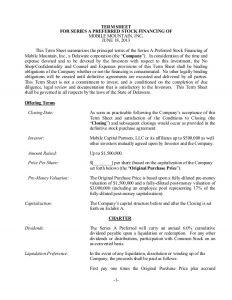 investment agreement template sample term sheet