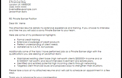 investment banking cover letter private banker