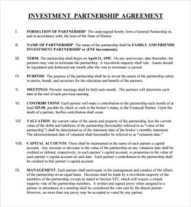 investment proposal template business investment partnership agreement