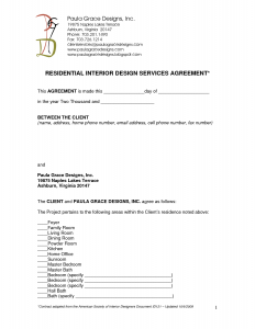 investor agreement template residential interior design contract
