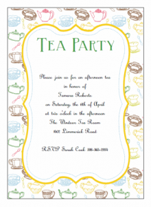 invitation card template printable tea party invitations