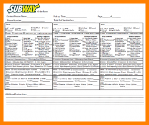 invoice receipt template subway order form subway order form fax