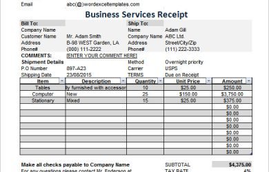 itemized receipt template business services receipt excel free download