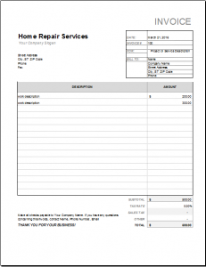 itemized receipt template home repair receipt