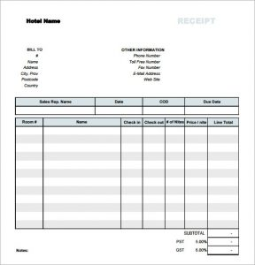 itemized receipt template simple hotel receipt template free