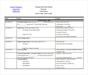 itinerary template word free ms word format travel itinerarry template