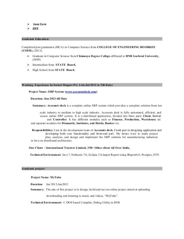 Java Developer Resume | Template Business  Java Developer Resume Sample