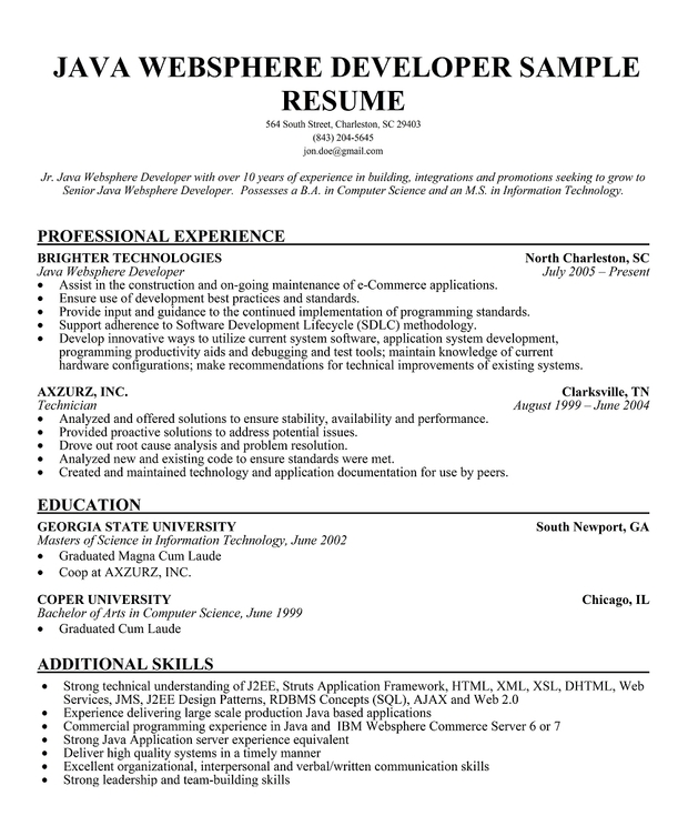sample resume for software engineer with experience in java - java developer resume template business