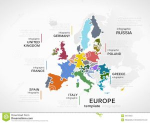 jig saw puzzle template europe map concept infographic template countries made out puzzle pieces