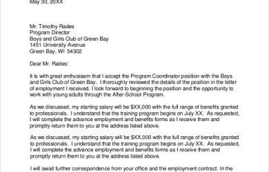 job acceptance letter coordinator job offer acceptance letter