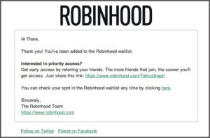 job application email template robinhood confirmation email