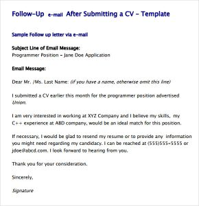 job application follow up email sample follow up email template after resume