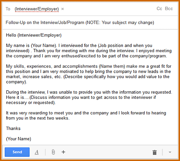job application follow up email sample template business