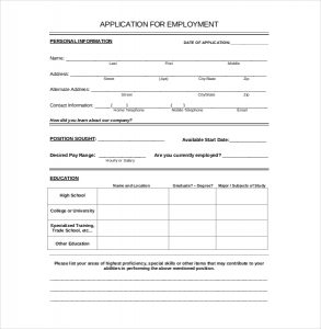 job application form template employement application template download