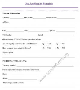 job application form template job application template