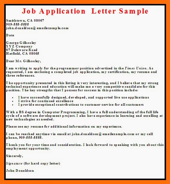 job application letter - How To Write A Resume For Job Application