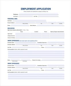 job application template pdf generic fillable employment application