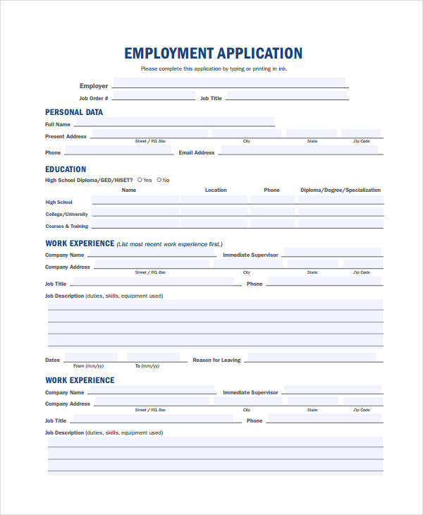 job application template pdf
