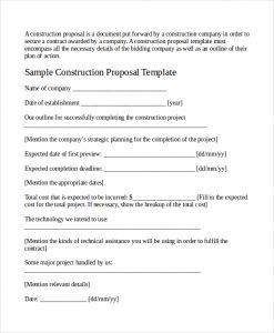 job bid template construction job proposal template