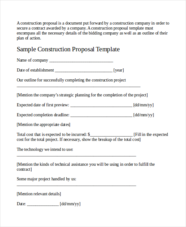 job bid template