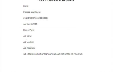 job bid template job proposal template word form