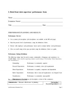 job description format hotel front desk supervisor performance appraisal