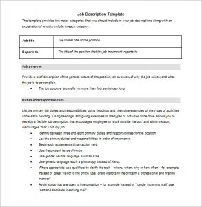 job description template word free download blank job description template word format