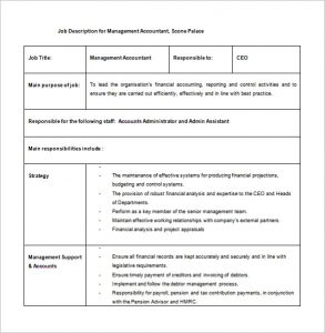 job description template word management accountant job description free word template