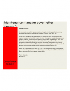 job description templates preventive maintenance manager cover letter l