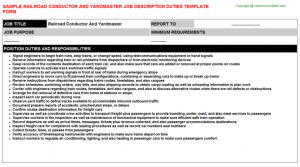 job description templates railroad conductor and yardmaster job description