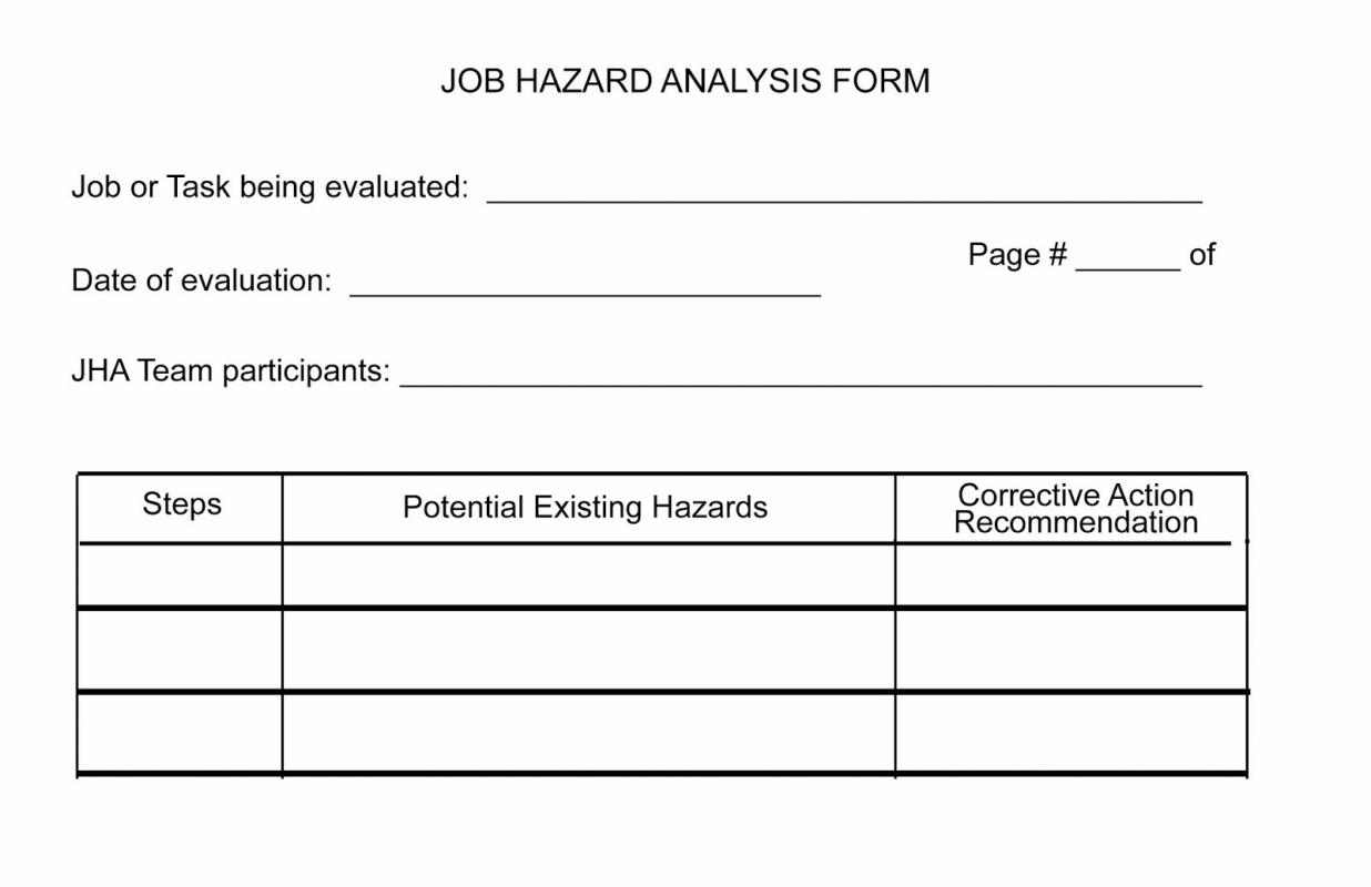 Job Hazard Analysis Form  Jsa Form Template