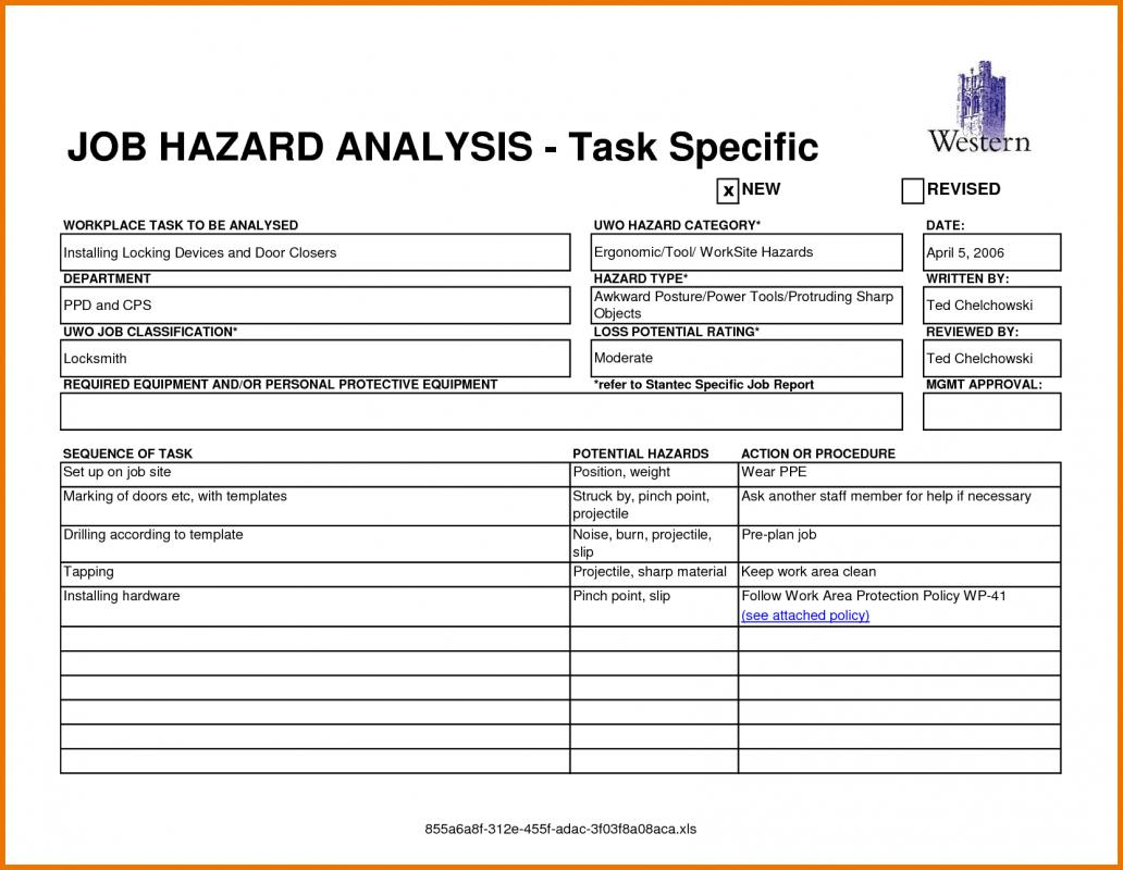 Tire Changing Hand Tools >> Job Hazard Analysis Form | Template Business