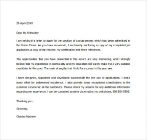 job letter sample sample employment application letter for free