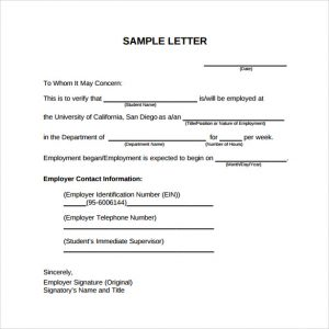 job letter sample sample pdf employment verification letter