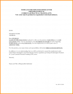 job letter sample template for employer offer letter for employment