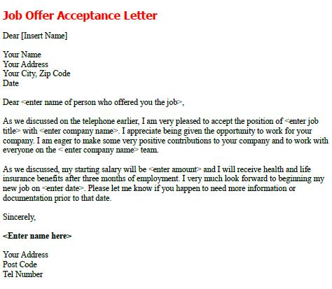job offer acceptance letter template business