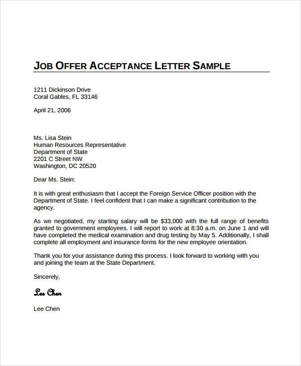 job offer acceptance letter template business