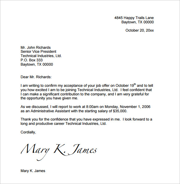 job offer letter template