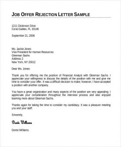 job offer letter template employment offer rejection letter template