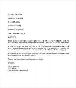 job offer letter template job offer letter template