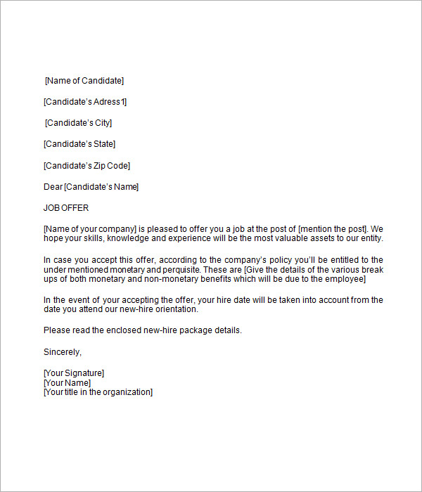 job offer letter template offer letter template template business 14696
