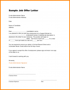 job offer letter template job offer template job offer sample template