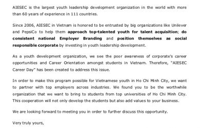 job offer letters aiesec career day proposal